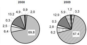 Экспорт за 2008 и 2009 годы